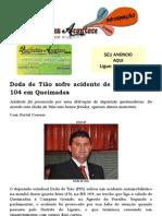 Doda de Tião sofre acidente de carro na BR 104 em Queimadas