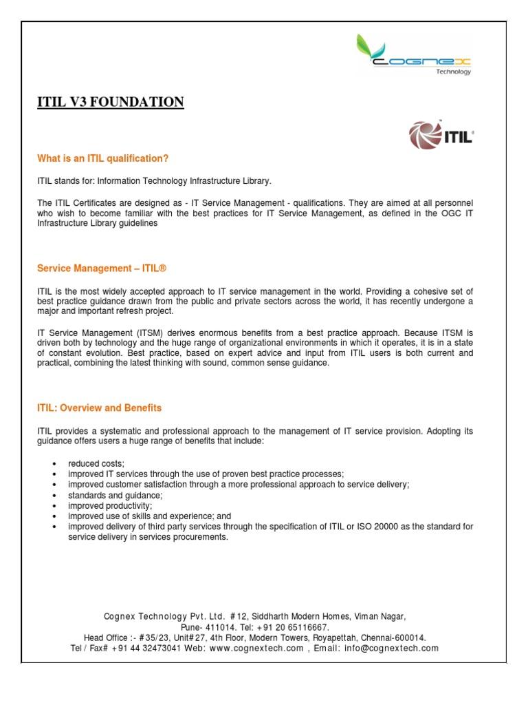 Itil V3 Foundation Overviewpdf Itil It Service Management