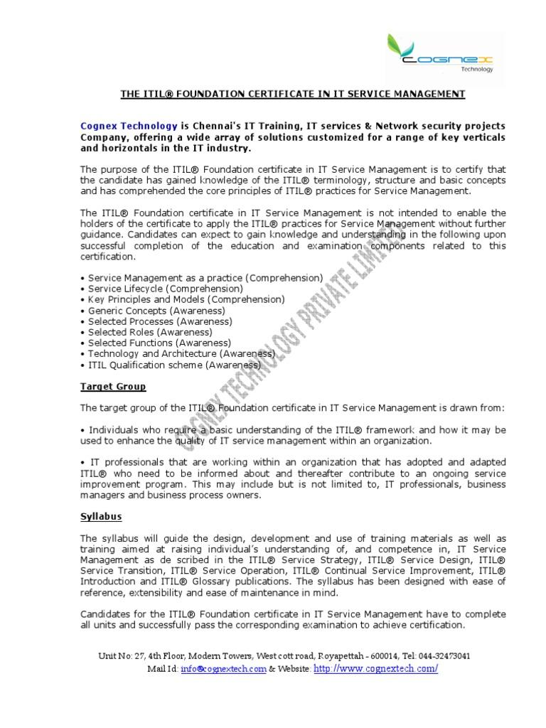 Itil V3 Foundation Course Contentpdf Itil It Service Management