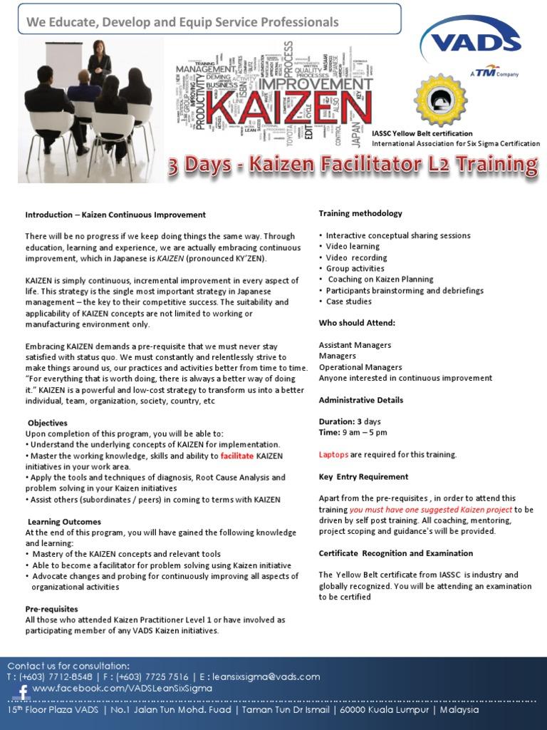 Kaizen Facilitator Level 2 Training Brochure V1 18062013