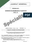 Bac ES 2013 SES Specialite