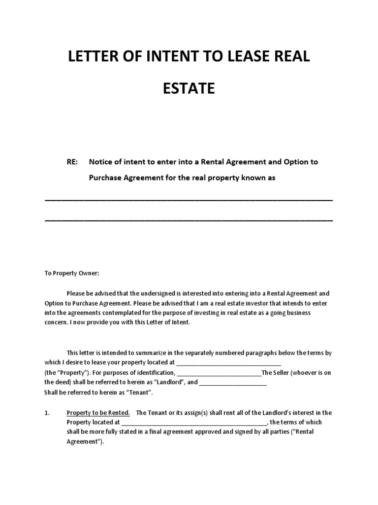 letter of intent to lease real