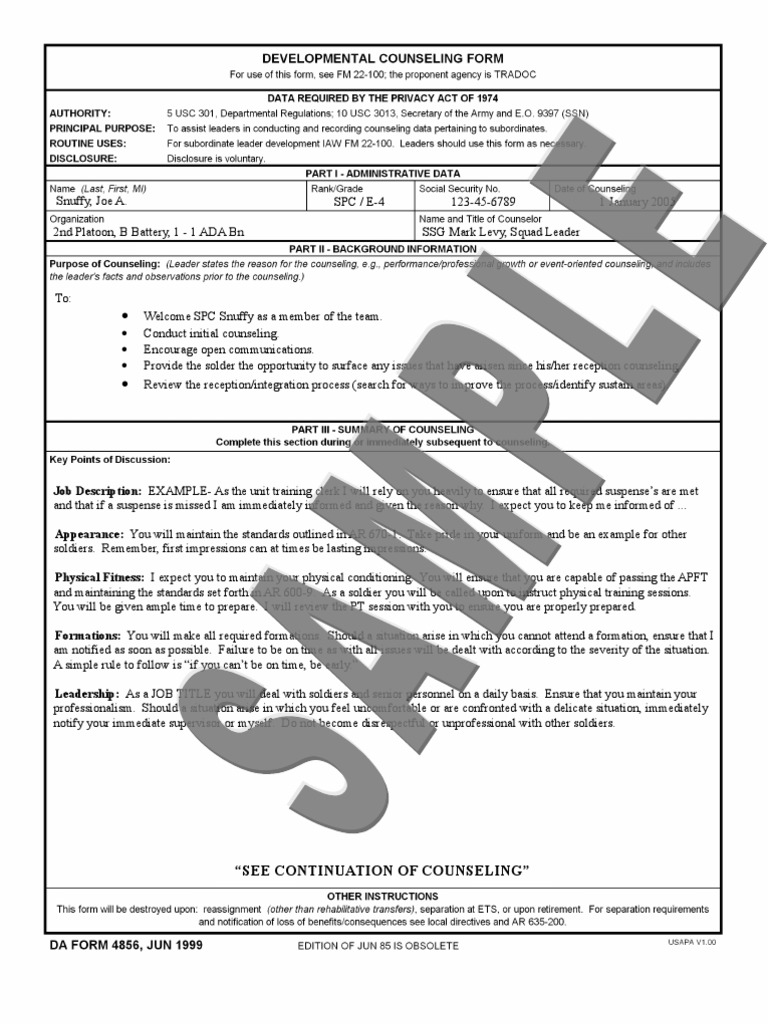 initial counseling template - 4856 sample armed conflict