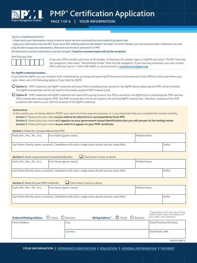 Pmp application formhx zip code academic degree 1betcityfo Gallery
