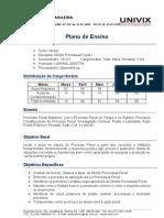 Plano de Ensino - Direito Processual Penal I
