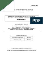 Bac Techno 2013 LV2 Espagnol