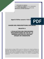 Cahier des prescriptions spéciales relatif à l'évaluation des  procédures réglementaires en vue de la généralisation du guichet unique en urbanisme