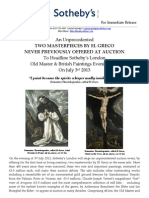 An Unprecedented  Two Masterpieces By El Greco  Never Previously Offered At Auction  To Headline Sotheby'S London  Old Master & British Paintings Evening Sale  On July 3Rd 2013