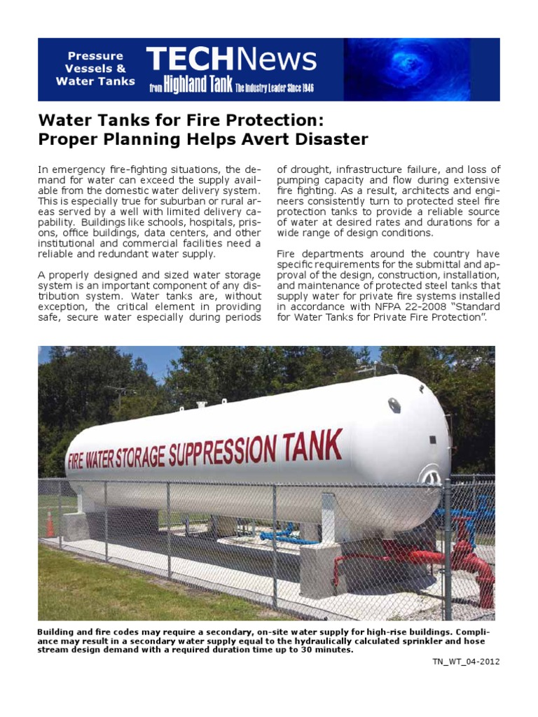 Water Tanks For Fire Protection Fire Sprinkler System Thermal Insulation
