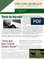 June, 2013 Newsletter Cannon & Van Allen, LLP Personal Injury, Auto Accident & Criminal Defense