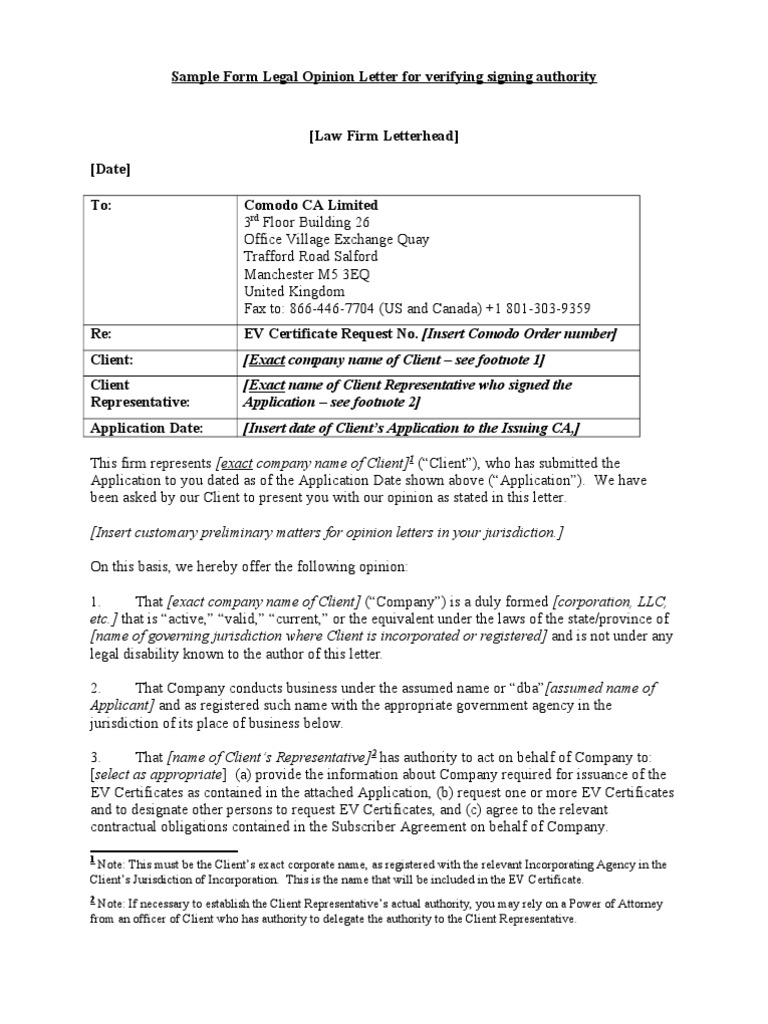 Sample form legal opinion letterc lawyer common law 1betcityfo Image collections