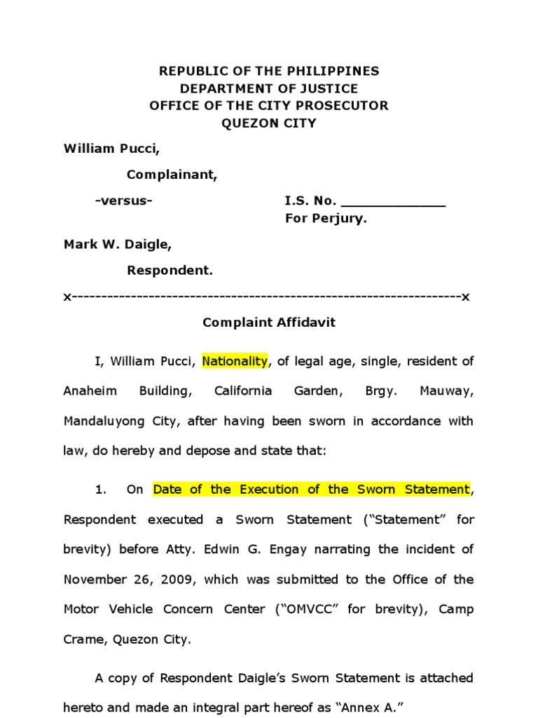 Complaint+affidavit+perjury.doc | Perjury | Jurisprudence