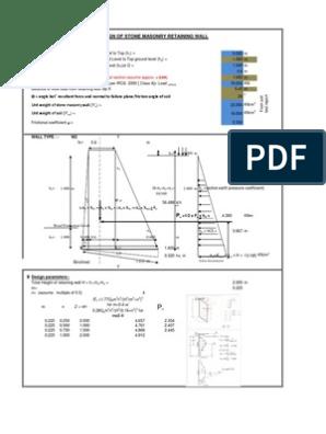 Stone masonry wall xls | Masonry | Cross Section (Physics)