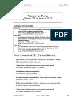Resumen Prensa CEU-UCH 21-06-2013