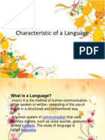 Characteristic of a Language