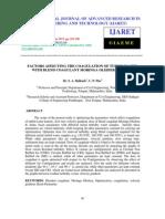 Factors Afeecting the Coagulation of Turbid Water With Blend Coagulant Moringa Oleifera & Alum