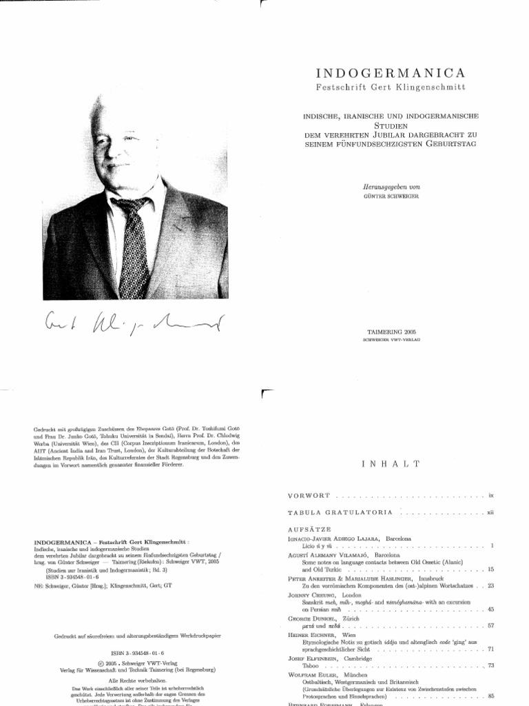 Klingenschmitt-Festschrift-2005   Linguistics   Languages