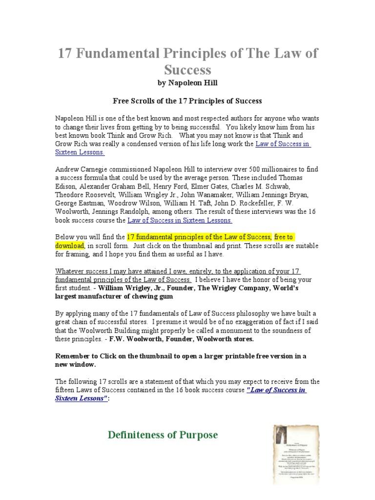 Workbooks success principles workbook : 17 Fundamental Principles of the Law of Success | Napoleon Hill | Mind