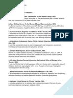 List the 16 Documents of Vatican II