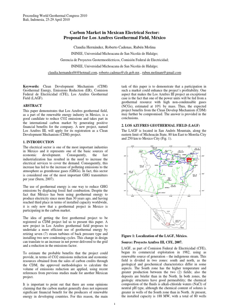 Geothermal Energy Carbon Market In Mexico Clean