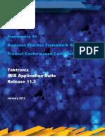 Tektronix IRIS Frameworx 10 eTOM Certification Report