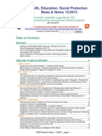 Health, Education, Social Protection News & Notes 13/2013