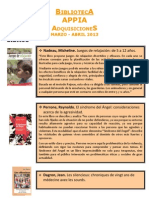 Biblioteca APPIA - Adquisiciones Mar-Abr 2013
