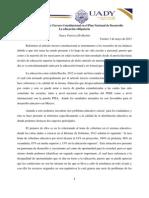 Reporte de Lectura 2 expresar el Artículo Tercero Constitucional en el Plan Nacional de Desarrollo