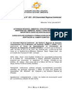 BOLETIN DE PRENSA 023 - 2013-  CURSO ESPECIALIZACIÓN EN PROY. C.C.