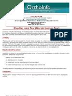 shoulder joint tear glenoid labrum tear-orthoinfo - aaos