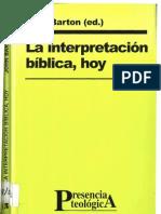 BARTON, J., - La interpretación bíblica hoy - Sal Terrae 2001