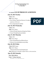 Schedule of Presscon Auditions