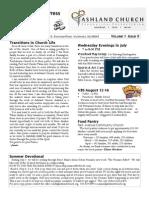 Ashland Church Summer 2013 Newsletter