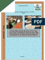 Etude préliminaire sur l'état des lieux des interventions en matière de sécurité alimentaire au  Bénin