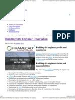 Job Description for Building Site Engineer