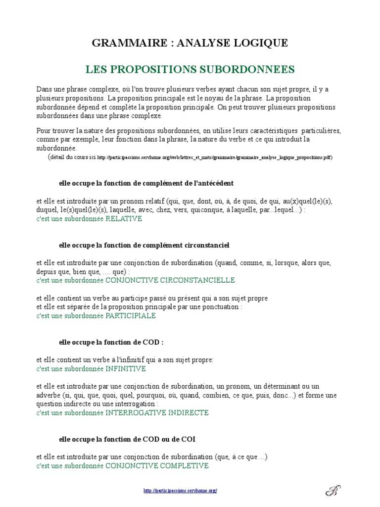 Grammaire Exercices Propositions Clause Syntaxe