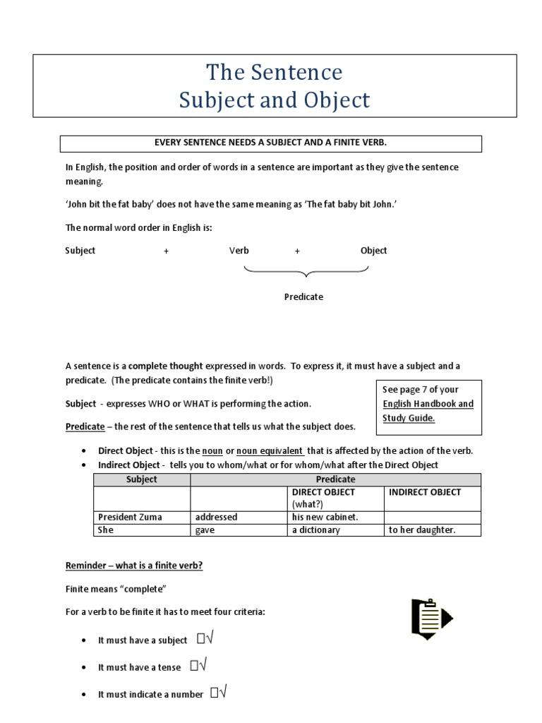 F2 Sentences Module | Subject (Grammar) | Object (Grammar)