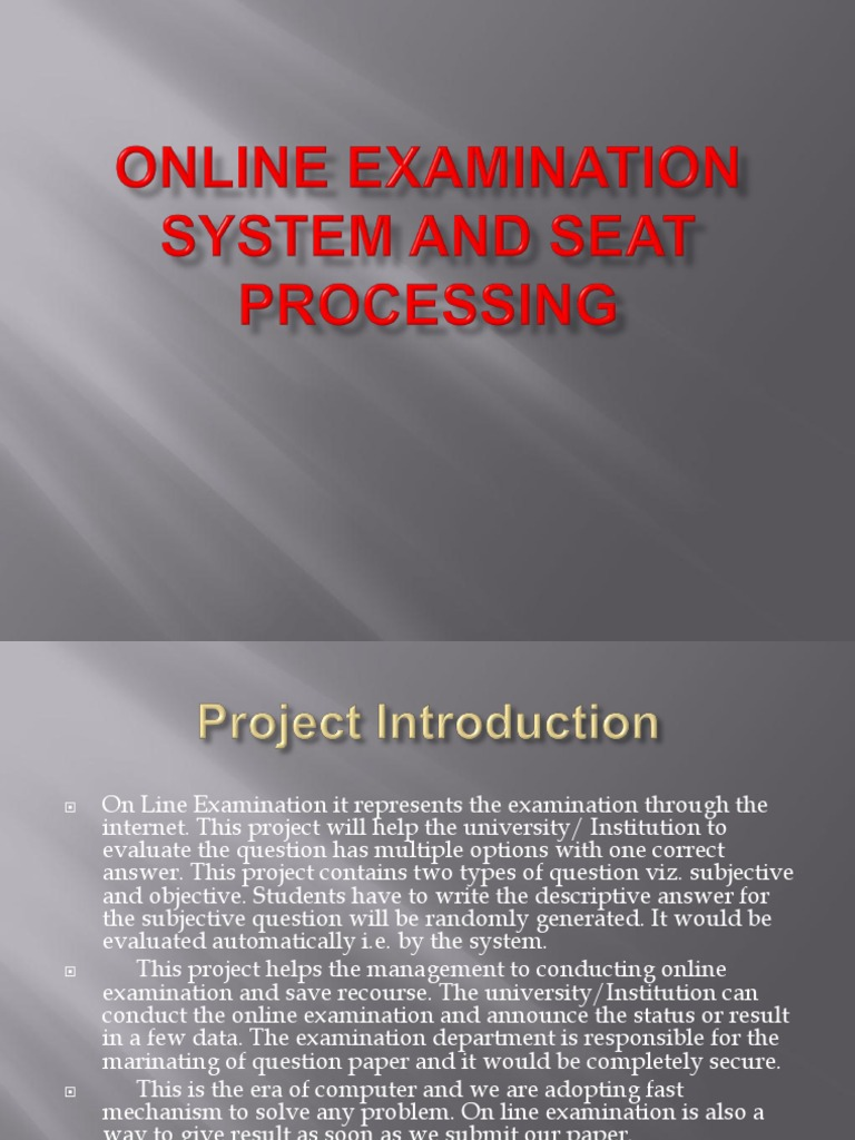 srs of online examination system