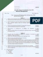 VTU Material Management Question Paper 06 IM63