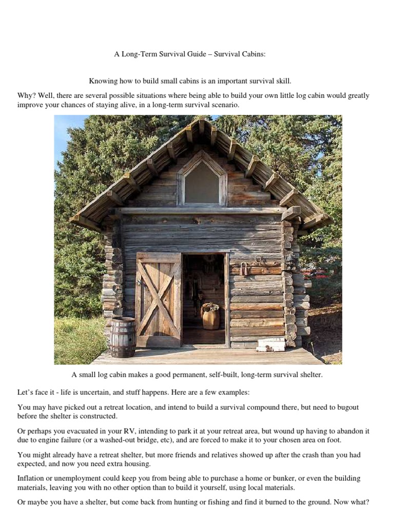 A long term survival guide survival cabins log cabin for Small survival cabin