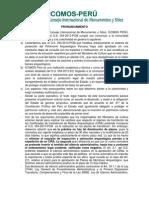 Pronunciamiento Icomos Peru Etcr