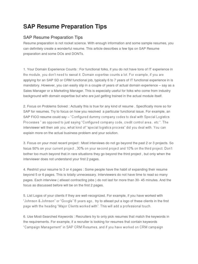 Sap Sample Resume Cum Tips Electronic Data Interchange Invoice