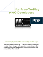 10 Tips for Free to Play Mmo Developers