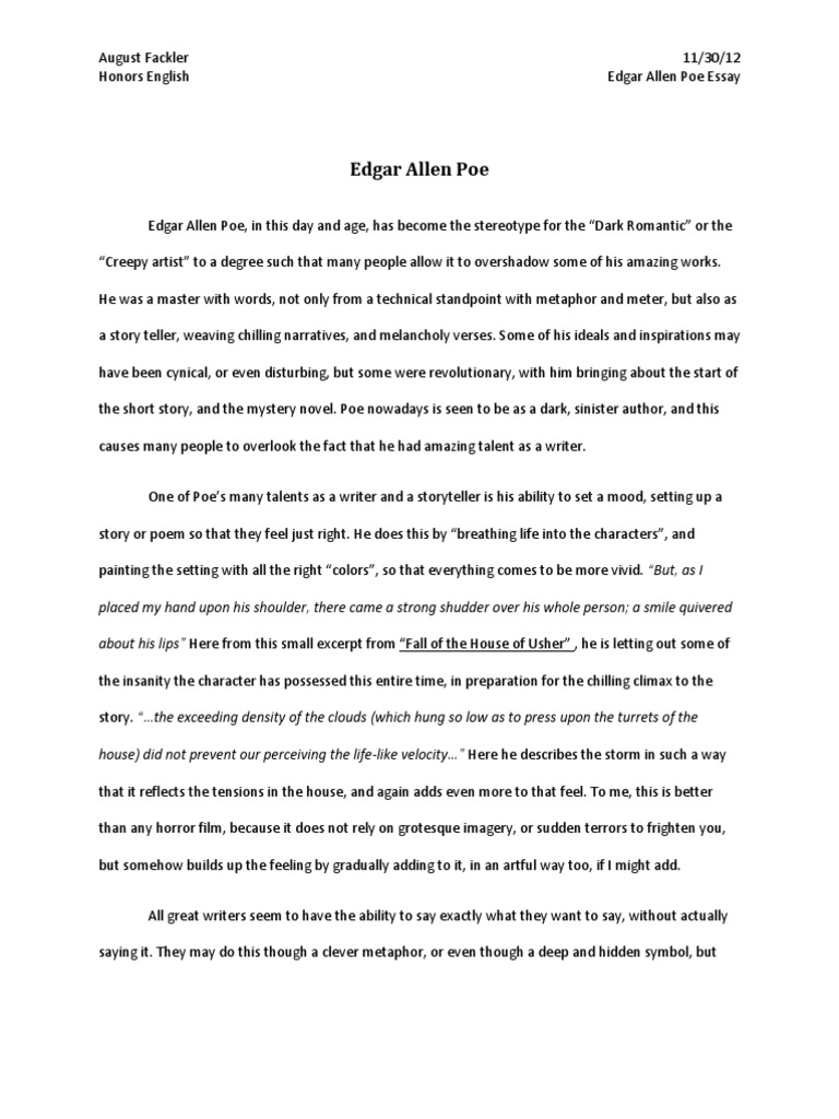 Edgar Allen Poe Essay  The Raven  Edgar Allan Poe  Essay On Science And Society also Essay Term Paper  Essay Style Paper