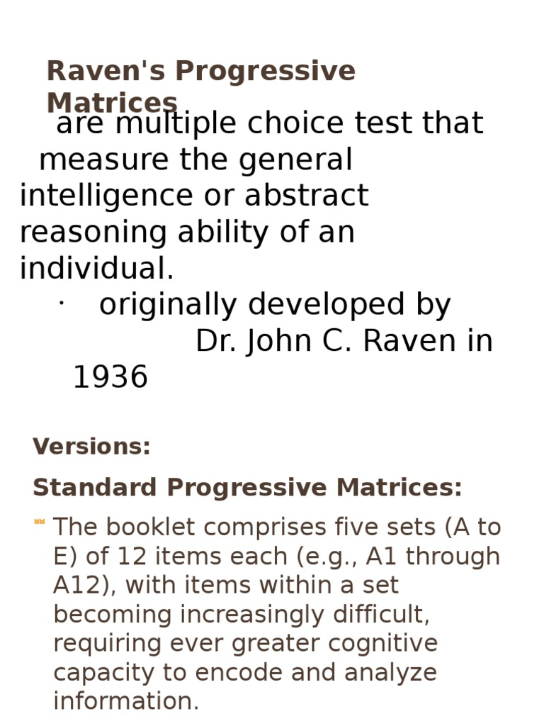 Raven S Progressive Matrices