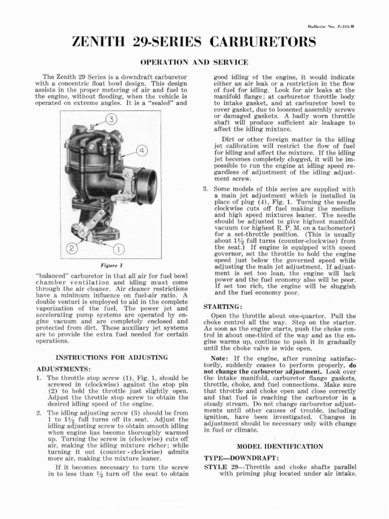 Inspirational Zenith Carburetor Model 33