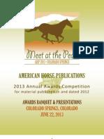 American Horse Publications Awards Program 2013