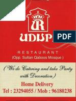 55671126 Udupi Indian Vegetarian Restaurant Menu