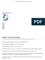 Mother Teresa Fact Sheet - Mother Teresa - Catholic Online