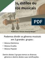 Ritmos, estilos ou gêneros musicais